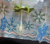Feb Christmas card dangling snowflakes