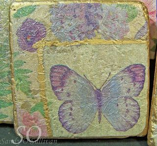 Butterfly napkin coasters close up