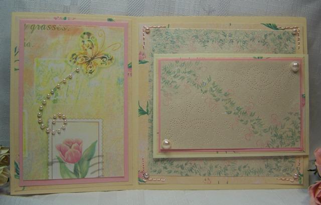 Fancy fold stitched card half open