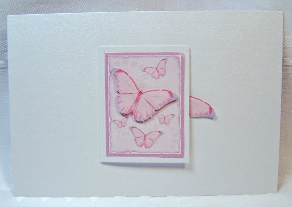 White gold butterfly book card closed