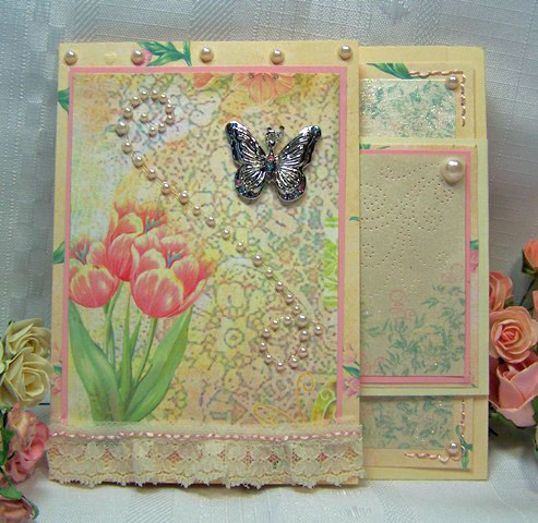Fancy fold stitched card