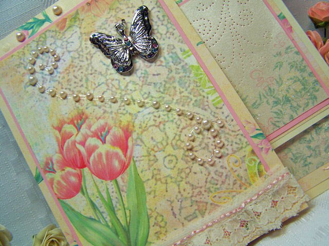Fancy fold stitched card tilted right